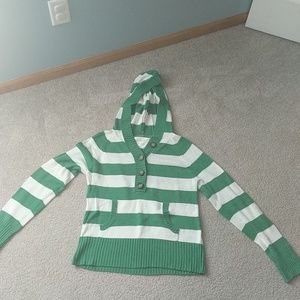 Aeropostale green and white hooded sweater
